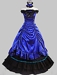 One-Piece/Dress Gothic Lolita Vintage Inspired Cosplay Lolita Dress Black / Blue Vintage Sleeveless Long Length Dress / Collar For Women