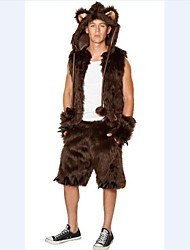 Luxury Fur Fox Coffee  Adult Men's Halloween Costume(Suitable for 168-180cm Men)