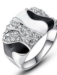 Anéis Pesta / Diário / Casual Jóias Zircão / Cobre Feminino Anéis Statement6 / 7 / 8 Transparente / Preto / Prateado