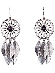 Fashion Big Circle With Leaf Disc Drop Earrings