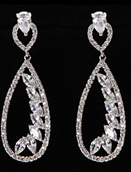 Silver Platinum Plating Drops with Leaves Earrings