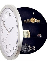 Silver Plastic Wall Clock w/ Hidden Shelves Valuables Secret Stash Jewelry Money