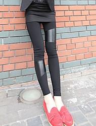 pu pelle patchwork elastici pantaloni a vita elastica delle ghette delle donne
