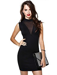 Women's Turtleneck Mini Dress , Cotton Black Sexy/Party/Work