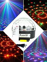 6x3w RGB LED mp3 dj club pub disco party kristall magisk boll skede laserljus (ac100-240v)
