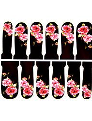 12шт цветочным узором водяной знак ногтей наклейки c2-017