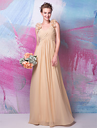 Floor-length Georgette Bridesmaid Dress - Champagne Plus Sizes A-line V-neck