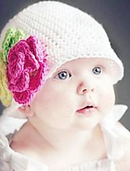 Kinderwinterblumenmuster Hand Strickmütze für 3-36 Monate