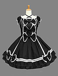 One-Piece/Dress Classic/Traditional Lolita Vintage Inspired Cosplay Lolita Dress Black Vintage Sleeveless Medium Length Dress For Women