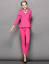 Col rond volants en bas de femmes en tête de costume (blouse&pantalon)