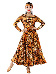 Ballroom Dance Dresses Women's Training Viscose Animal Print Long Sleeve 130cm