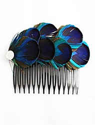 Women's Flower Girl's Feather Headpiece-Wedding Special Occasion Casual Outdoor Hair Combs
