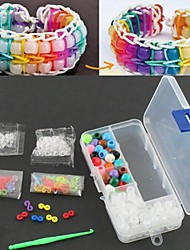DIY Rainbow Color Loom Accessory Kits with Storage Case Bracelets 100 Clips+Hook+UV Color Beads