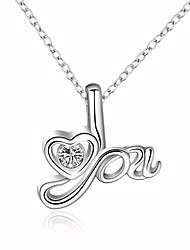 Cremation jewelry 925 Sterling Silver LOVE Shape with Zircon Pendant Necklace for Women