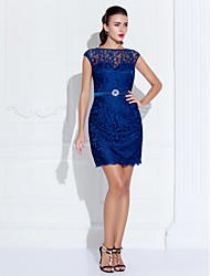 Sheath / Column Jewel Neck Short / Mini Lace Cocktail Party Homecoming Holiday Dress with Crystal Detailing by TS Couture®
