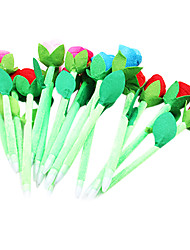 6PCS New Beauty Plush Rose Flower Pens(Random Color)