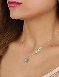 collar de turquesa cruz delicated de la mujer