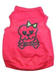 Chat Chien Tee-shirt Rouge Rose Vêtements pour Chien Printemps/Automne Crânes Cœur