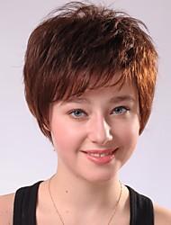 Capless Short Brown Curly  Human Hair Wigs