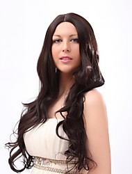 Capless Mix Color Extra Long High Quality  Natural Curly Hair Synthetic Wig with None   Bang