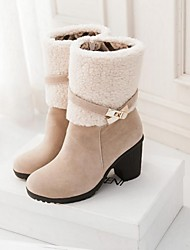 Women's Shoes Round Toe Chunky Heel Mid-Calf Boots with Zipper Buckle More Colors available