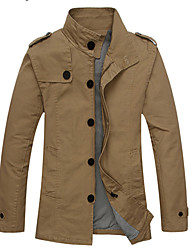 Hotta Men's Long Sleeve Slim Fashion 100% Cotton Stand Collar Jackets