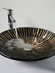 Noir Forme Chapeau en verre trempé Évier avec robinet en bambou, Pop - Up Drain et anneau de montage