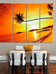 tramonto orologio costa di cocco in tela di canapa 4pcs