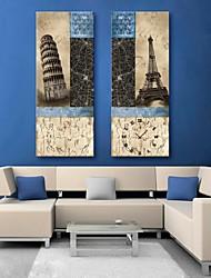 European Famous Building Clock in Canvas 2pcs