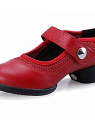 Women's Dance Shoes Dance Sneakers Leather Low Heel Black/Red