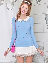 DABUWAWA Women's All Match Doll Collar Long Sleeve Sweater