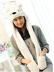 Kigurumi Pyjamas Ours / Raton laveur Chapeau Halloween Pyjamas animale Blanc Imprimé Fausse Fourrure / Polyester Chapeau UnisexeHalloween