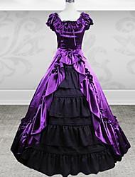 Long Sleeve Floor-length Purple Cotton Gothic Lolita Dress