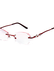[Free Lenses] Women's Metal Rectangle Rimless Crystal Reading Eyeglasses