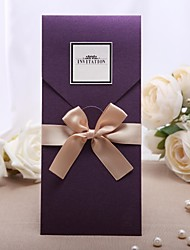 Personalized Purple Wedding Invitation With Golden Bow -Set Of 50/20