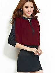 Women's Work Dress,Color Block Mini Long Sleeve Red / Black Polyester Spring / Fall