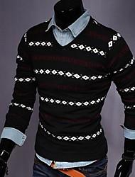 Men's Slim Stripes V Neck Sweater