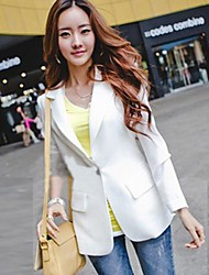 Women's White/Black Blazer , Casual Long Sleeve