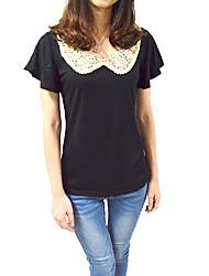 Tee-shirt Femme,Mosaïque Décontracté / Quotidien simple Toutes les Saisons Manches Courtes Col Rond Claudine Blanc Noir Fin