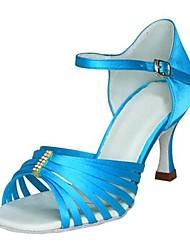 Latin Women's Sandals Stiletto Heel Satin Buckle Dance Shoes(More Colors)