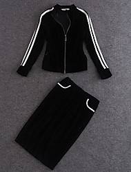 Women's Zip Casual Suit(Sweatshirt & Skirt)