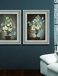 Floral/Botanical / Still Life Framed Canvas / Framed Set Wall Art,PVC Dark Blue No Mat With Frame Wall Art