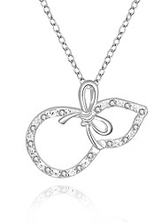 Fine Jewelry 925 Sterling Silver Jewelry Gourd with Bow Pendant Necklace for Women