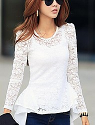 Women's Solid/Lace Black/White Blouse , Round Neck Long Sleeve Lace