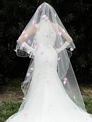 Wedding Veil One-tier Headpieces with Veil Beaded Edge 110.24 in (280cm) Organza White / Ivory