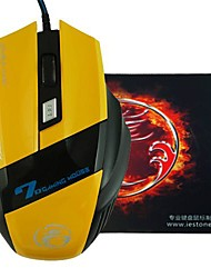 E-STONE X7 Design LED Light Wired Gaming 2000DPI USB Mouse+Mouse Pad