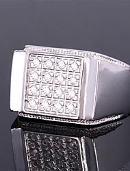 anel de banda de luxo 18k ouro, platina masculino banhado aaa + pedra CZ zircônia jóias legal para os homens de alta qualidade