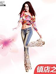 mj®: женская 2014 отличается регион влюбчивый чувство роскоши ногтей шарик вышивка высокая талия сексуальный бутон шелковые длинные джинсы