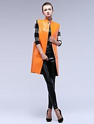 Women's Stand Collar Loosen Leather Waistcoat