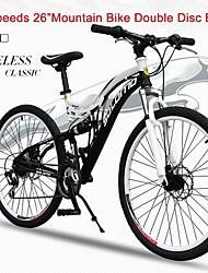 "21 Speeds SHIMANO 26""X17"" SLM™ Disc Brake Mountain Bike 40 Spokes Flat Tire Fork Shock Absorption"